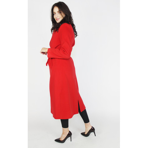 SophieB Red Belted Long Winter Coat