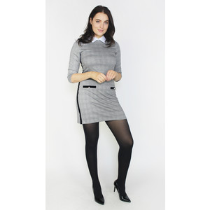Zapara Grey & Black White Collar Dress