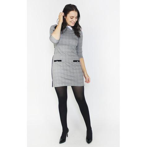 Zapara Grey & Black White Collar Dress