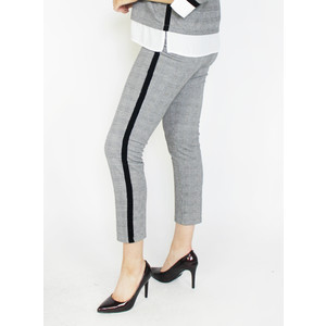 Zapara Black & Grey Side Strip Trousers