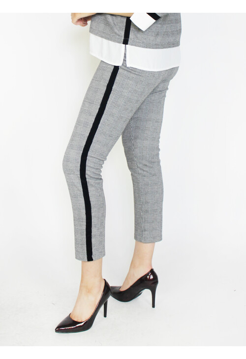 Zapara Black & Grey Side Stripe Trousers
