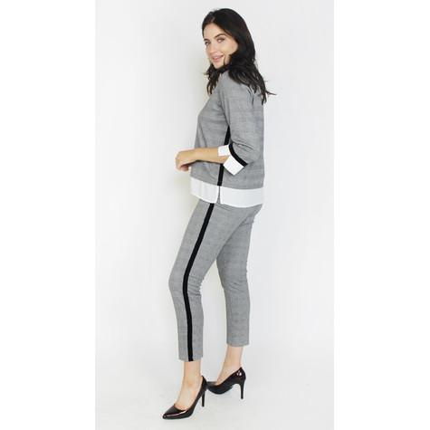 Zapara Black & Grey Side Strip Trousers