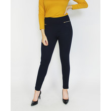 Zapara Navy Back Zip Detail Trousers