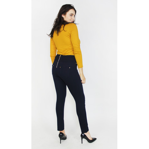 Zapara Navy Back Zip Detail Trousers