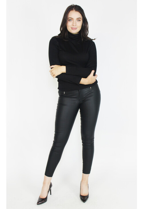 Sophie B Black Turtle Neck Top