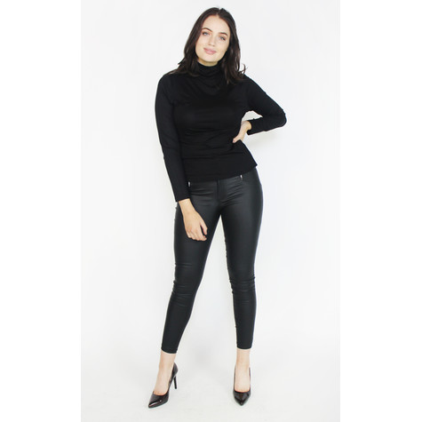 Zapara Black Coated Skinny 3 Button Trousers