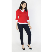 Twist Red & White 2 in 1 V-Neck Top