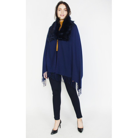Pamela Scott Navy Faux Fur Scarf Cape