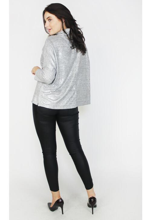Sophie B Light Shimmer Grey Cowl Neck Top