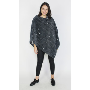 Pamela Scott Dark Grey Fun Fur Pearl Detail Cape