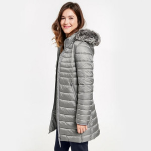 Gerry Weber Silver Quilted Coat With Fur Trim Grey