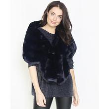 Pamela Scott Navy Faux Fur Heavy Winter Scarf