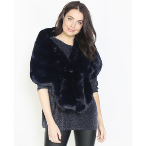 Pamela Scott Navy Faux Fur Heavy Winter Scarf
