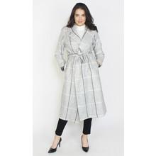 SophieB Light Grey Check Belted Coat