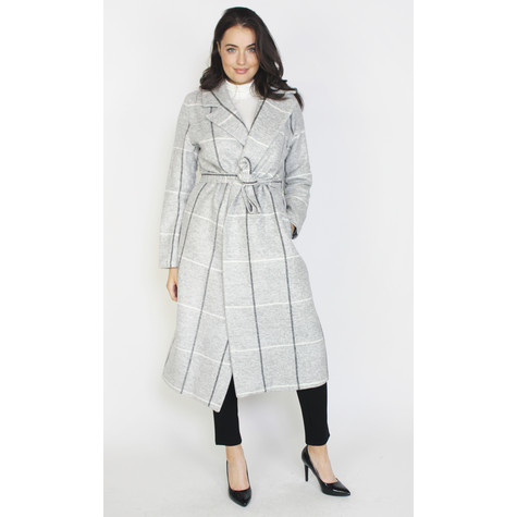 SophieB Light Grey Check Belted Coat