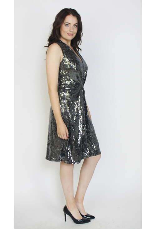 Closet Silver Sequin Jersey A-Line Dress