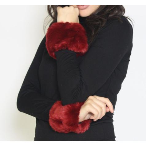 Fashion Kingdom Dark Red Faux Fur Wrist Warmer