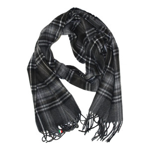 Twist Grey & Red Small Tartan Print Scarf