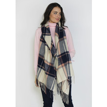 Pamela Scott Cream & Black Check Large Winter Scarf