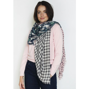 Pamela Scott Black & Dusty Pink Check Scarf