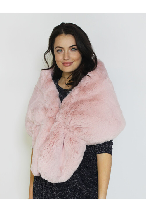Pamela Scott Rose Faux Fur Shoulder Winter Scarf