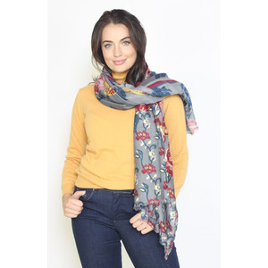 Pamela Scott Grey & Gold Metallic Floral Print Scarf