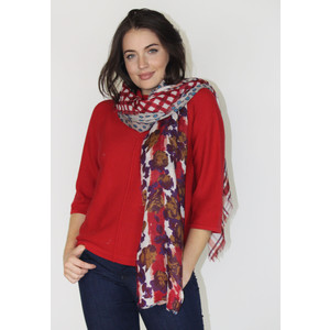 Pamela Scott Red Check & Floral Print Scarf