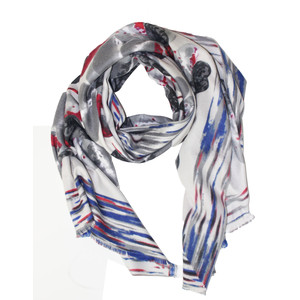 Pamela Scott Grey & Red Pattern Winter Scarf