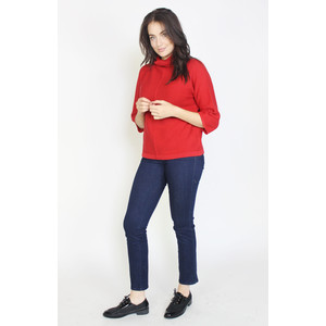 Twist Red Fine Rib Knit