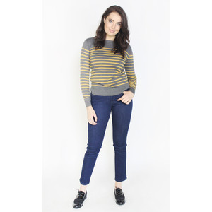 Twist Honey & Grey Strip Round Neck Top