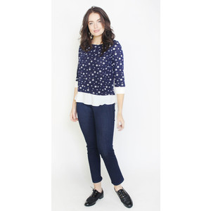SophieB Navy White Spot 2 in 1 Trim Top