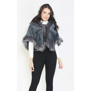 Pamela Scott Dark Grey Fuax Fur Shoulder Scarf
