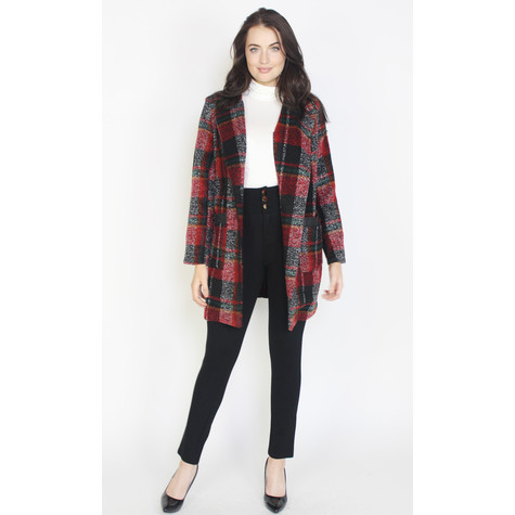 SophieB Red Tartan Print Coat