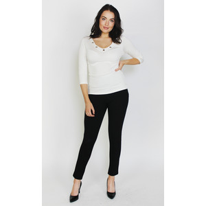 SophieB Cream Silver Ring Neckline Top