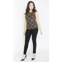 Zapara Black Gold Glitter Sleeveless Top