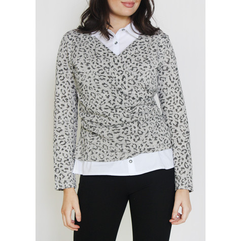 SophieB Grey & Black Leopard Print 2 in 1 Top