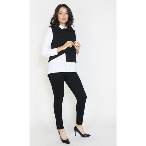 Zapara Black & White Button Detail Knit