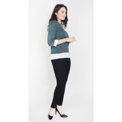 SophieB Dark Grey White Hem Knit