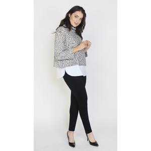 Sophie B Grey & Black Cowl Neck White Hem Knit