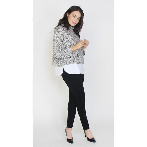SophieB Grey & Black Cowl Neck White Hem Knit