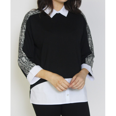 SophieB Black & Grey White Shirt 2 in 1 Knit