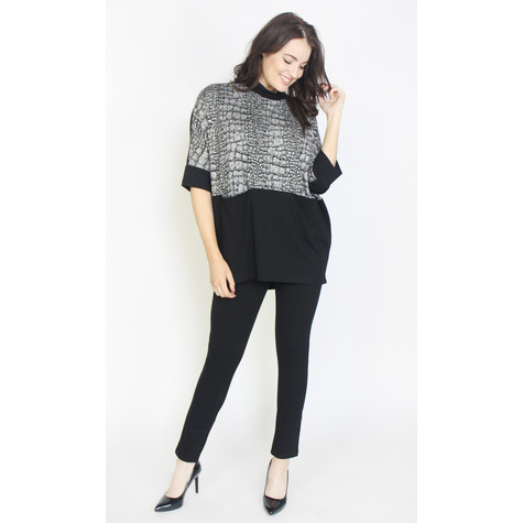 SophieB Black & Grey Long Tunic Top