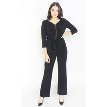 Zapara Black Silver Zip Detail Jumpsuit