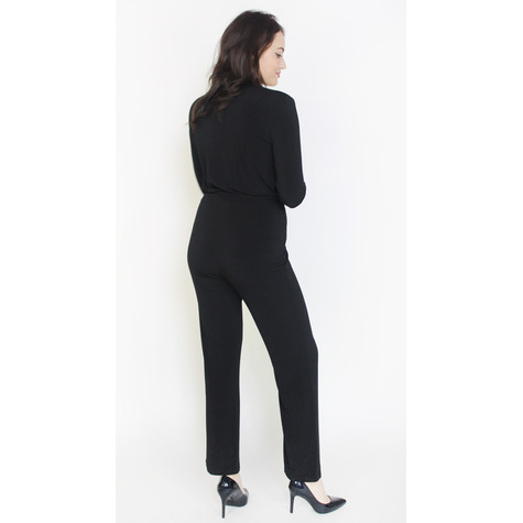 Zapara Black Silver Zip Detail Jumpsuit