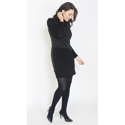 SophieB Dark Grey & Black Patch Cowl Neck Dress