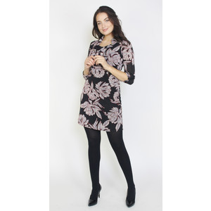 SophieB Grey & Black Flower Pattern Zip Neck Dress