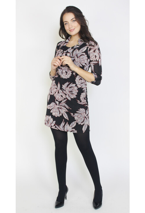 Sophie B Grey & Black Flower Pattern Zip Neck Dress