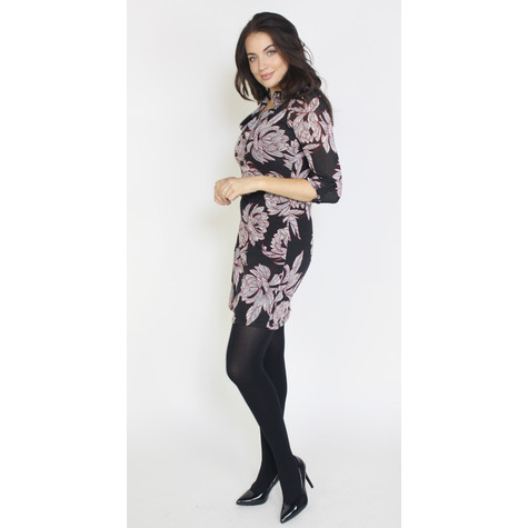 SophieB Grey & Black Flower Pattern Zip Neck Dress
