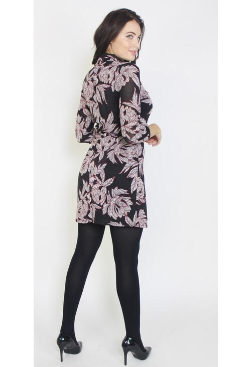 Sophie B Grey & Black Flower Pattern Zip Neck Dress