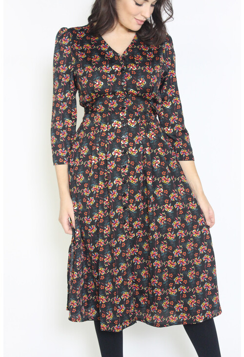 Zapara Dark Purple Floral Print Button Up Dress